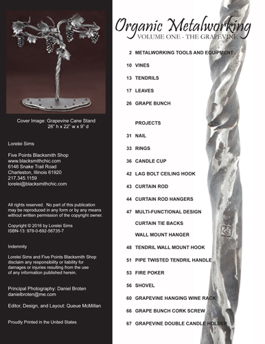 Table of Contents from Organic Metalworking - Volume One - The Grapevine